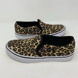 Vans 'Asher' Cheetah Print Slip On Sneakers Size 7